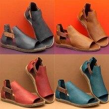Verano Mujer Sandalias señoras chicas Retro Vintage plana Peep Toe sandalias moda comodidad Casual playa zapatos de talla grande C140 #