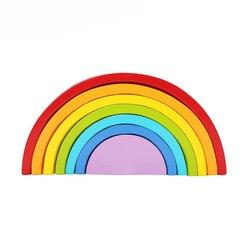 Rainbow grimms crianças crianças De Madeira blocos de construção blocos de madeira de aprendizagem precoce montessori educacionais brinquedos do bebê 13 24 meses
