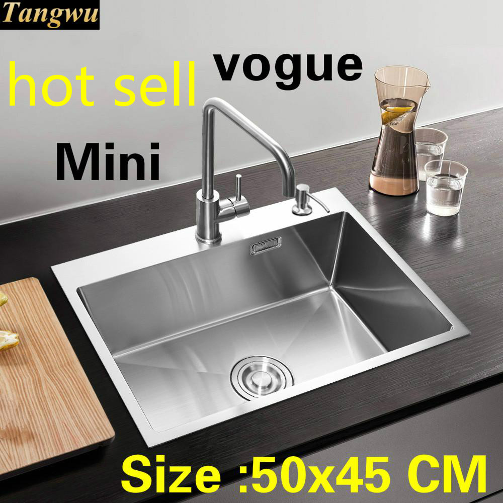 Free Shipping Apartment Kitchen Manual Sink Single Trough Standard Vogue 304 Stainless Steel Mini Hot Sell 50x45 CM