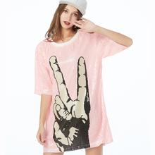 Sparkle Glitter Sequin Hip Hop Jazz Dancing T-Shirt Clubwear Stage Performance Clothing Loose Print Long T-Shirt Top Tunic