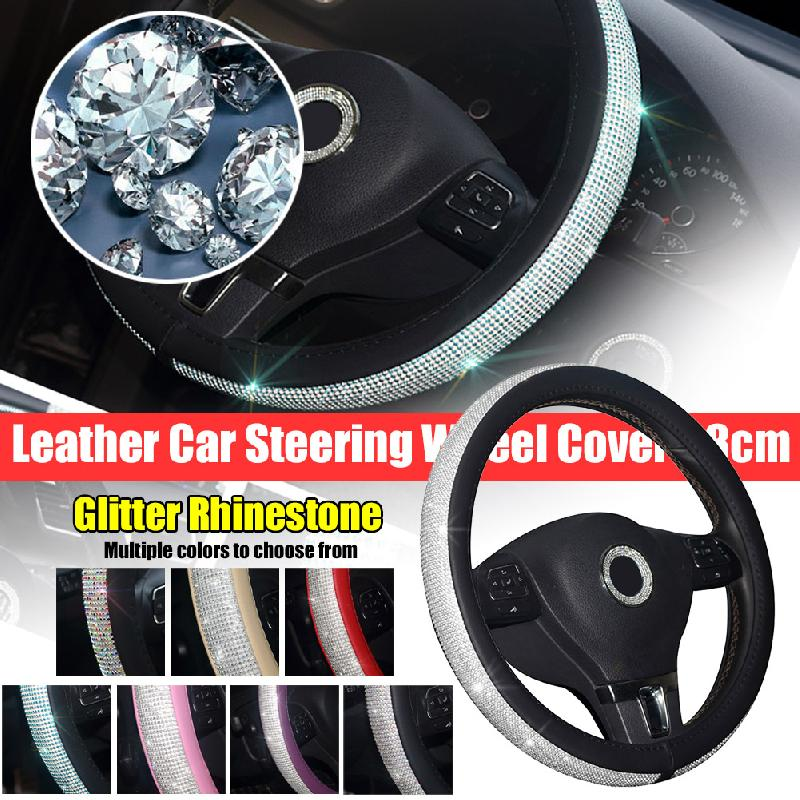 Rhinestone Car Leather Steering Wheel Covers Cap Steering Wheel Crystal Cover Auto Car Interior Accessories For Women Girls|Steering Covers| |  -