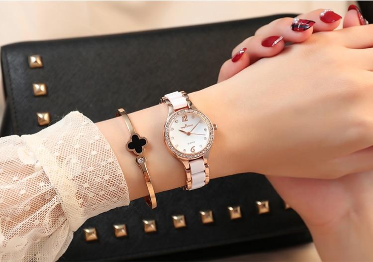 de pulso moda casual diamante senhoras relógio
