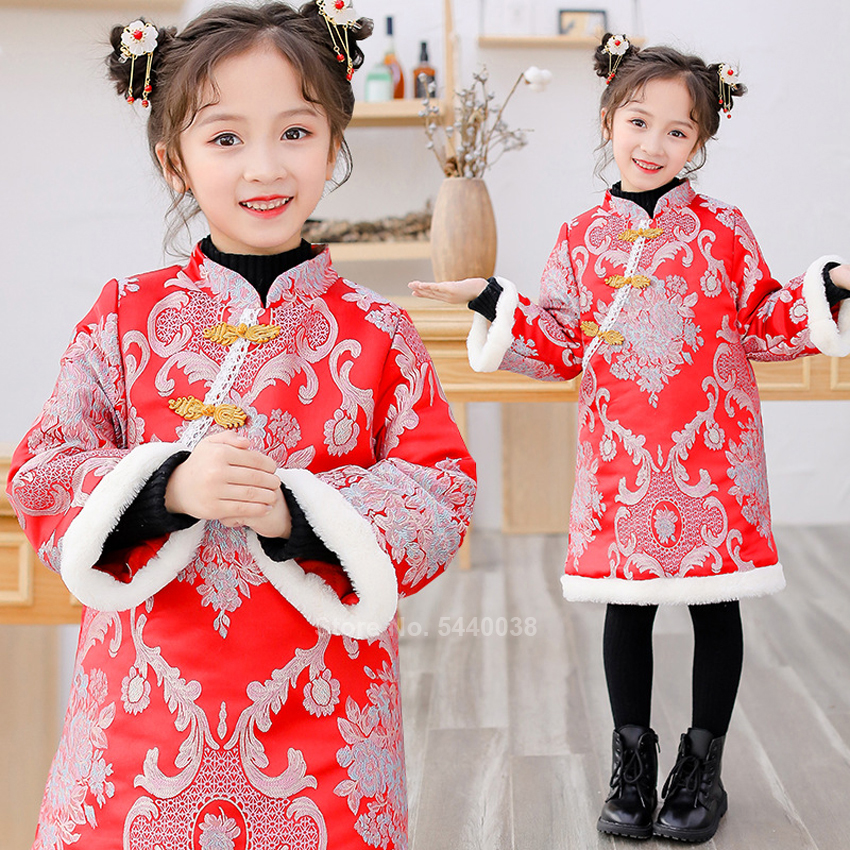 Chinese Traditional Ancient Princess Cheongsam Dress For Kids Baby Girl New Year Floral Embroidery Faux Fur Zipper Red Clothing
