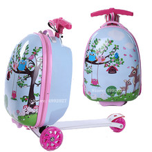Kids Rolling Luggage Casters Wheels Suitcase For Children Trolley Student Travel Duffle Cute Cartoon Carry On School Bag(China)