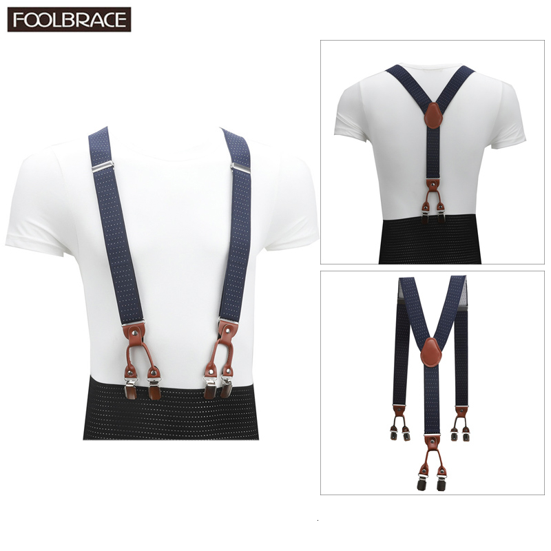 Vintage Brown Leather Elastic Alloy 6 Clips Male Casual Suspenders Commercial Western-style Trousers Man's Braces Strap
