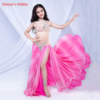 Belly Dance Children Performance Costume New Shine Diamond Bra Skirt Belt Set Oriental Indian Dancing Competition Stage Outfits