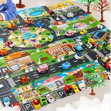 Игровой коврик для детей, игровой коврик, дорожный ковер с картой, Детские городские дорожные здания, парковка, карта, коврики, игровая сцена...