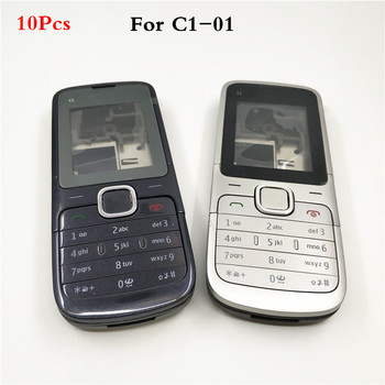 10Pcs/lot New Full Housing Case Cover For Nokia C1-01 Battery Cover Housing case With English Keyboard