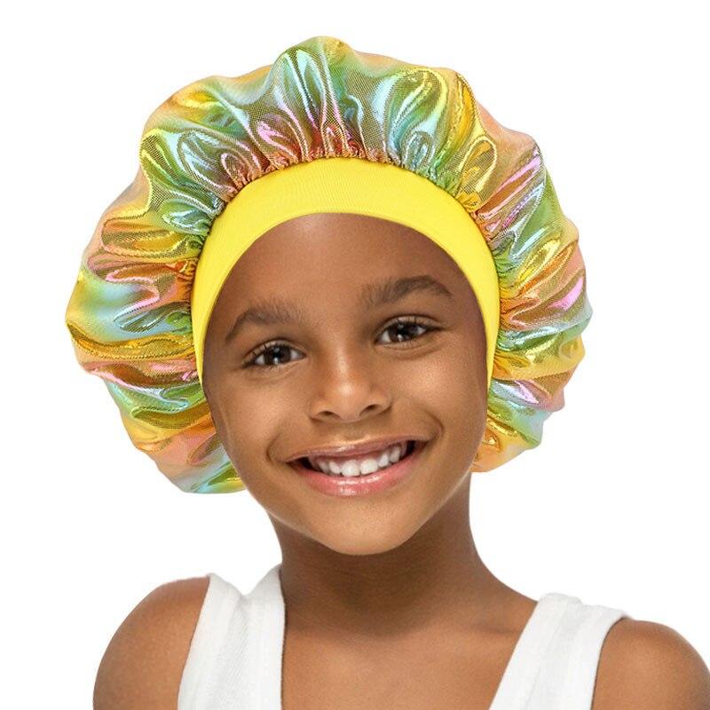 Купить детская атласная широкая шапочка шелковая лазерная шапка для