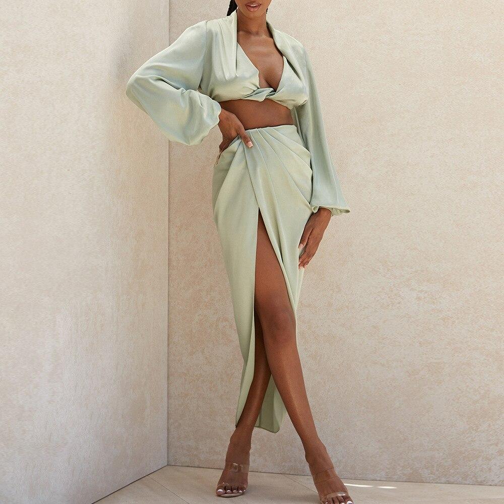 Tobinoone Sexy Long Sleeve Autumn Party Dress Women Satin V Neck High Slit Long Dress Elegant Bodycon Pleated Dresses 2020 7