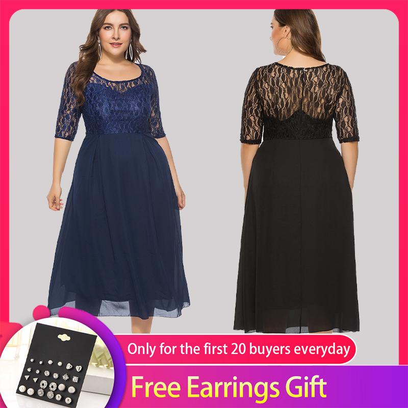 Lace Prom   Dresses   Queen Abby A-line Scoop Tea-Length Half Sleeve   Cocktail     Dresses   Elegant Evening Gowns Plus Size For Party