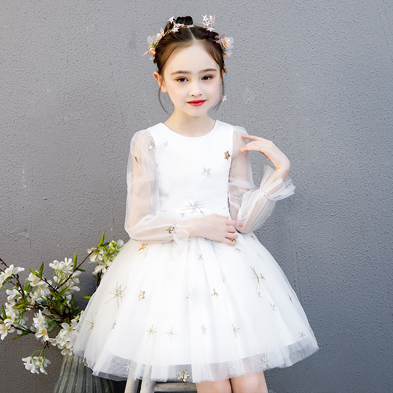 Formal Dress Evening Dress Bridal Gown Tutu Flower Mesh Long Sleeve Princess Dresses Children Party For 3 6 8 10Yrs Girl Clothes