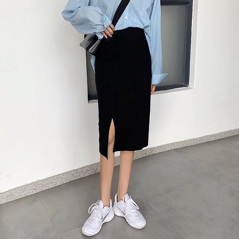 Slit Knitted Skirt Autumn And Winter Women's 2019 New Style Korean-style Students Mid-length High-waisted Skirt Black Skirt