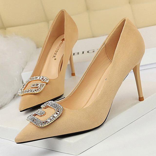 Women Shoes High Heels Suede Women Pumps Pointed Sexy Womens Heels Shoes Classic Pumps Female Shoes Ladies Wedding Shoes Heels