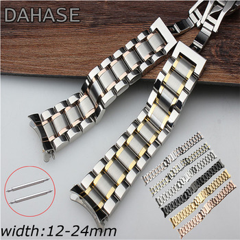 Watch Band 12 14 15 16 17 18 19 20 21mm 22mm 23mm 24mm Stainless Steel Watch Strap Curved End Butterfly Buckle Strap Bracelet