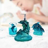 Fine Resin Soap Dish Dispenser Toothbrush Holder Tumbler Bathroom Accessories 4 Piece Set Dolphin Design Gift Decorative