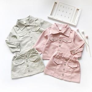 Image 3 - Ensemble de vêtements pour petites filles, veste solide à manches longues, avec jupe crayon, tendance douce, tenue dautomne pour enfants