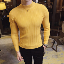 2019Mens Slim Fit collarbottomed  in autumn and winter Solid Color Casual KNIT Sweater