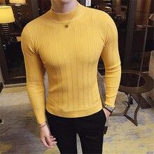 2019men coupe ajustée col montant en automne et en hiver couleur unie pull en tricot décontracté