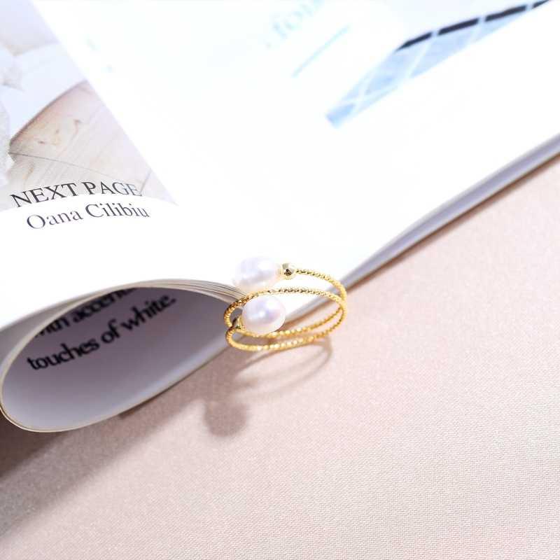 DMJZ028005 Parel Ring Dubbele Model 5-6Mm Parel Ringen Voor Vrouwen Verstelbare