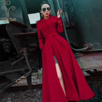 YOSIMI 2019 Winter Coats Women Wool Long Coat Maxi Full Sleeve Plus Size S XXL Long Coat Famale Woolen Jackets Tassel Red Wine