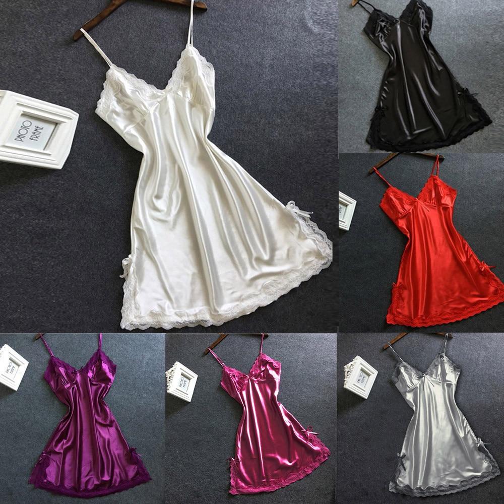 Sexy Nightgown Women Satin Bowknot Lingerie Babydoll V-neck Sleepdress Racy Underwear Koszula Nocna Langerie Hot Erotic Clothing