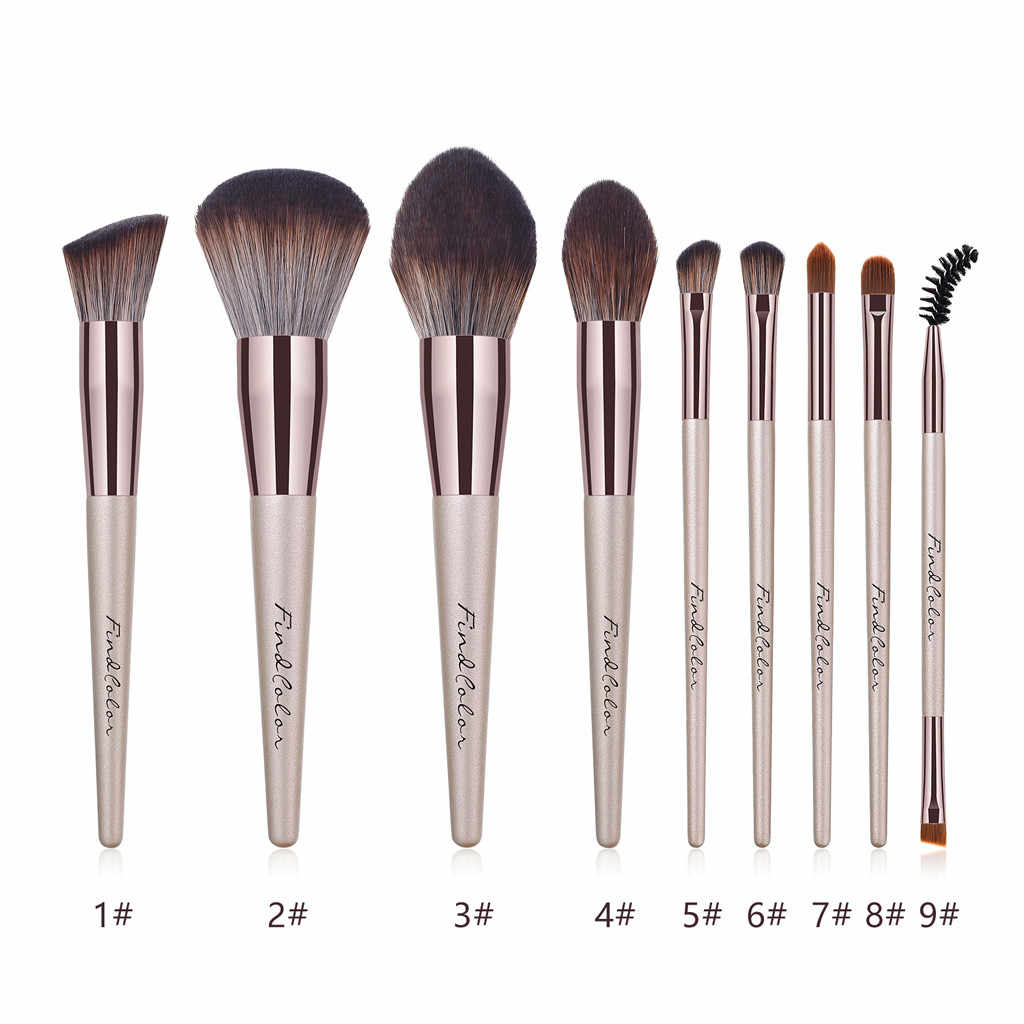 Kosmetik Sikat Foundation Kosmetik Alis Eyeshadow High End Kayu Menangani Tabung Aluminium Berkualitas Makeup Brush Set Alat