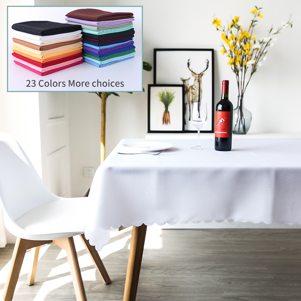 100% Polyester Hotel Banquet Tablecloth Kitchen Table Solid Decorative Thick Rectangular Table Cover For Wedding Party