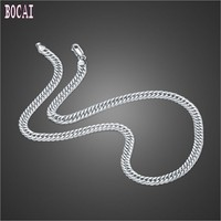 S925 sterling silver jewelry horse whip chain 6MM personality domineering men's silver chain double buckle men's silver necklace