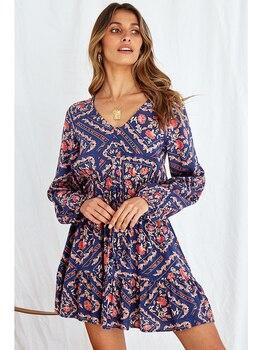 silviye belt style waist collection print authentic floral silk dress mulberry silk high waist medium long long sleeve dress Women Ruffles Floral Print Long Lantern Sleeve Lace Up Waist Dress Autumn V-Neck High Waist Slim Pullovers A-Line Mini Dress