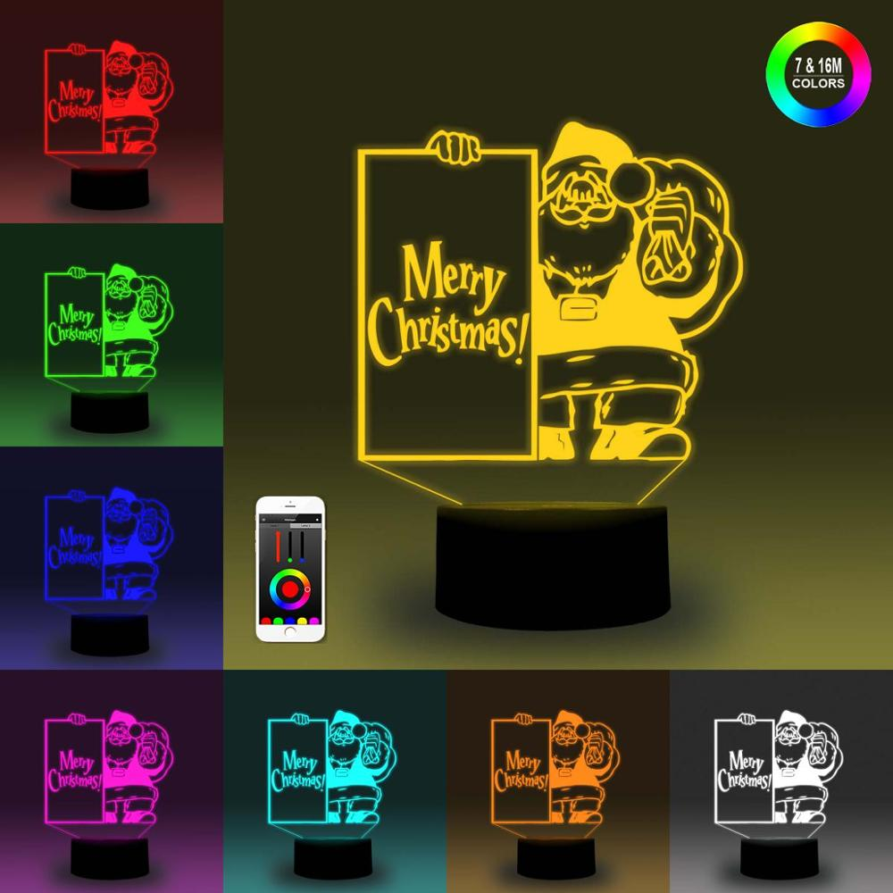 NiteApps 3D Santa's Greeting Night Light Desk Table Illusion Decoration Lamp Holiday Birthday Gift APP/Touch Control
