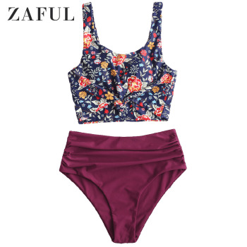 ZAFUL Women Plant Print Knot Ruched Tankini Swimsuit Scoop Neck High Waisted Crop Top Swimsuit Removable Padded Tankini Cute цена 2017