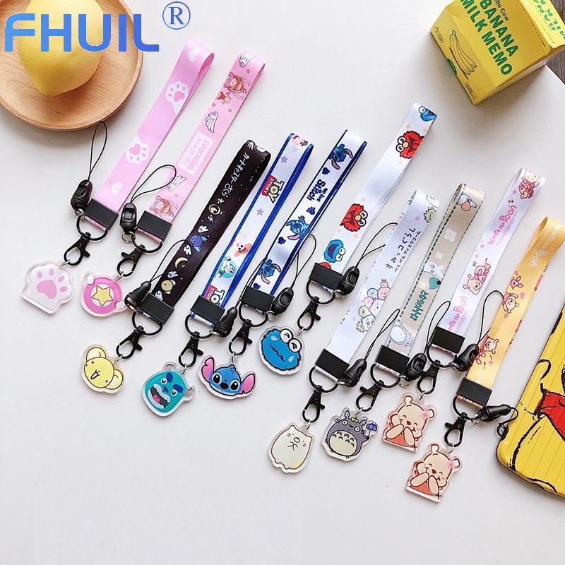 Cartoon Phone Hand Wrist Lanyards Strap String Kawaii Phone Charm Short Lanyard For Keys ID Card Gym USB Badge Holder Hand Rope