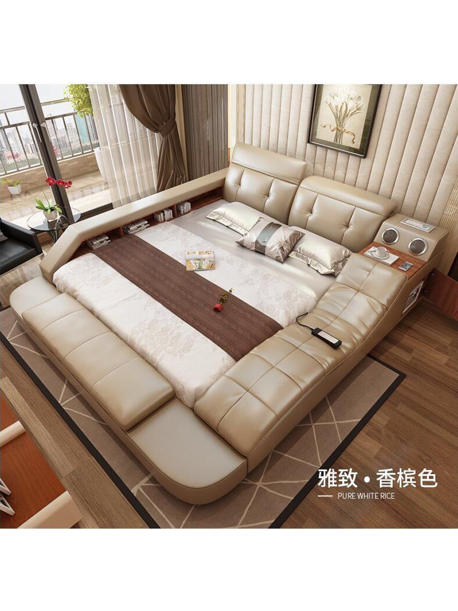 real genuine leather bed with massage double beds frame king queen size bedroom furniture camas modernas