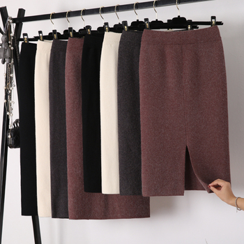 Winter Thickening Wool Blend Split Mid Knitted Skirt Cashmere Warm Hip Slim Mid-calf Knit Skirts 2 Length 4 Colors 4