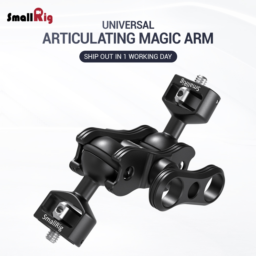 "SmallRig Quick Release Articulating Arm with Double Ballheads 1/4"" Screw Adjustable Light Weight Adapt For Monitor Support 2070