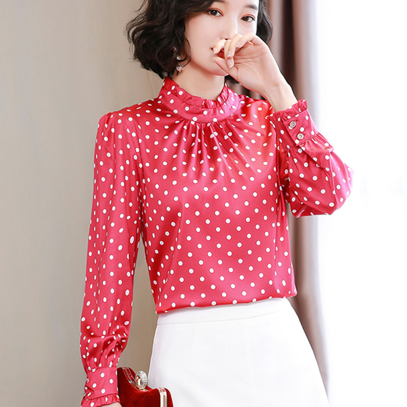 Korean Fashion Silk Women Blouses Women Polka Dot Shirt Women Long Sleeve Satin Blouse Top Pkus Size Blusas Femininas Elegante