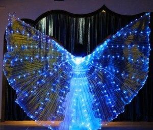 Image 4 - Женский белый костюм с крыльями ангела, светодиодами Isis, с палочками, золотой цвет, аксессуар для костюма Bellydance, 360, бесплатная доставка