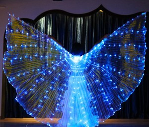 Image 4 - Women White Costume Angel LED Isis Wing With Sticks  Golden Colorful Bellydance Costume Accessory 360 Open Free Shipping