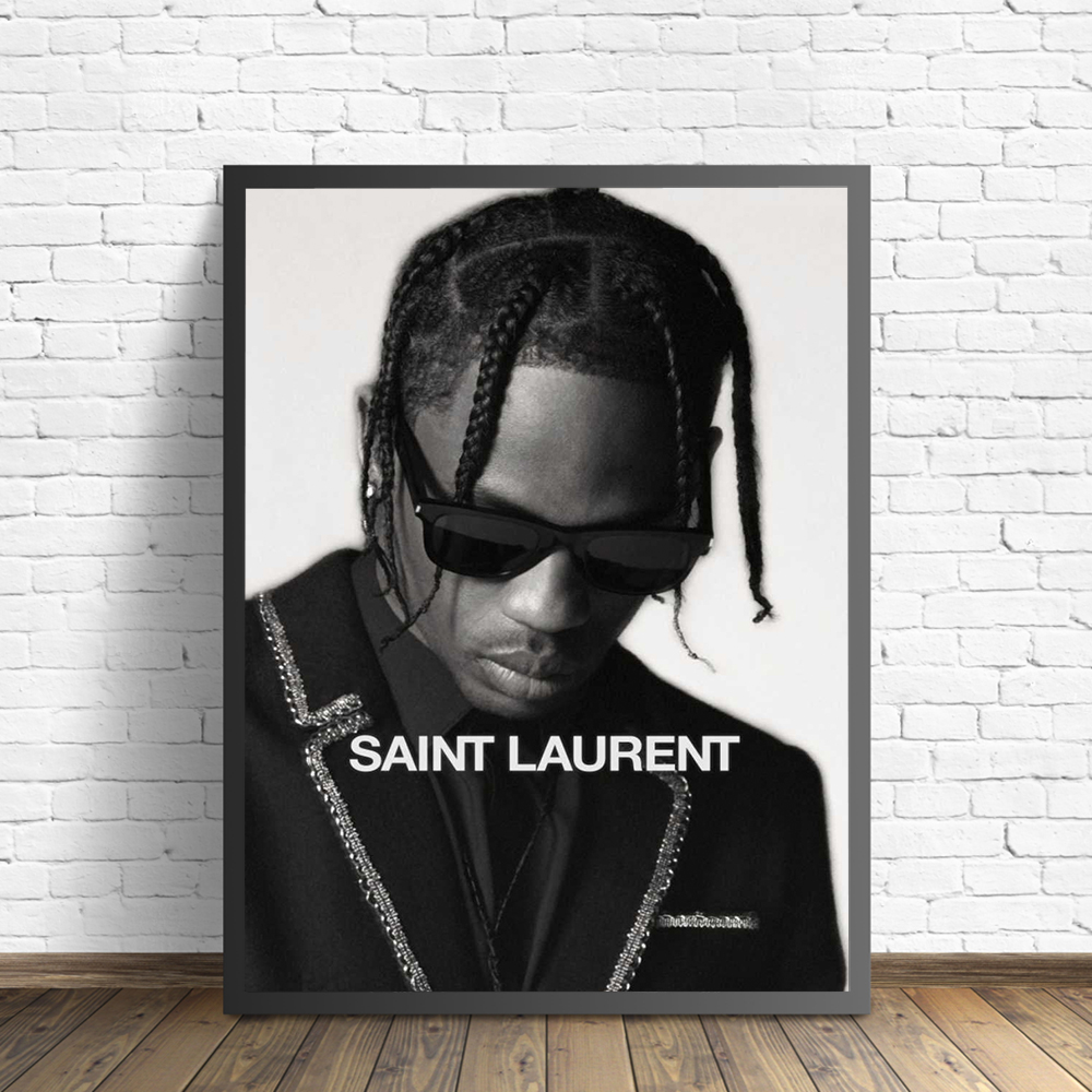 Black White Travis Scott Music Star Rap Hip Hop Rapper Fashion Model Art Painting Canvas Poster Wall Home Decor Quadro Cuadros