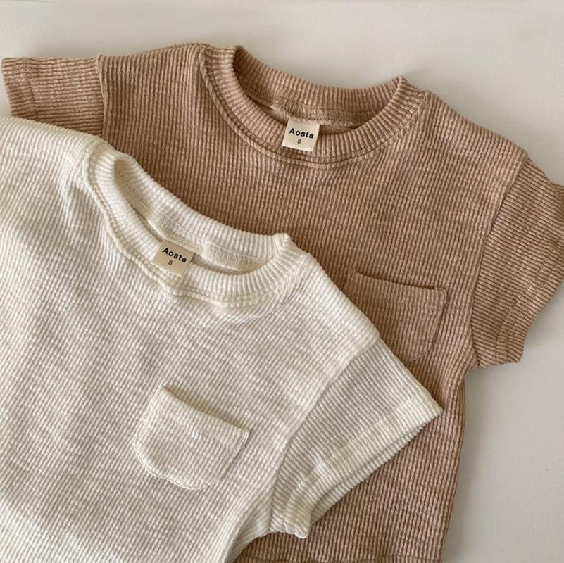 2021 Toddler Baby Boy Girl Solid Thread Printed Tops Summer New Children Kid Cotton Elasticity Half Sleeve T-shirt