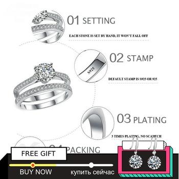 Black Friday Sona S925 Sterling Silver Ring i love mom SONA Diamond VS Clarity 1.25 Carat Luxury Wedding Engagement 2pc unique 1