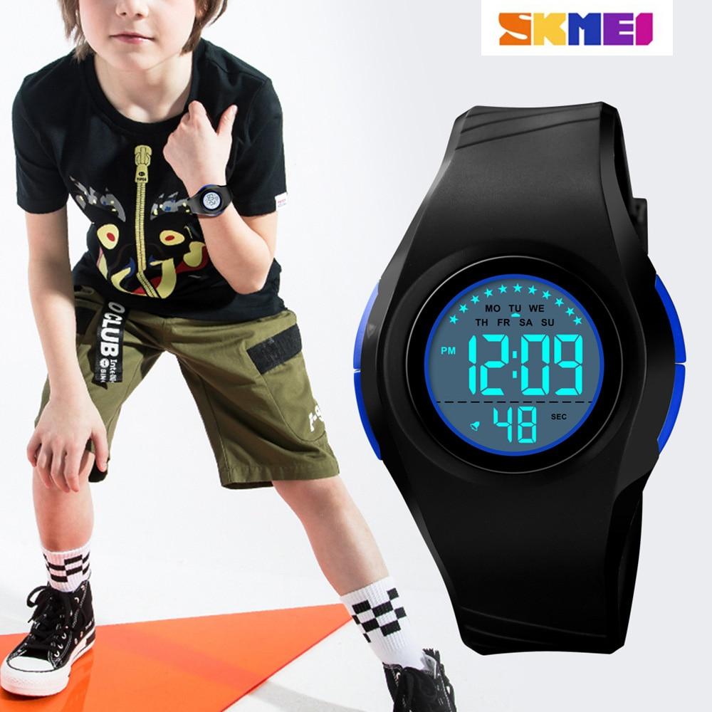 New SKMEI Watches Children Digital Kids Wristwatch LED Display Student Clock Boys And Girls Chronograph Digital Waterproof 5bar