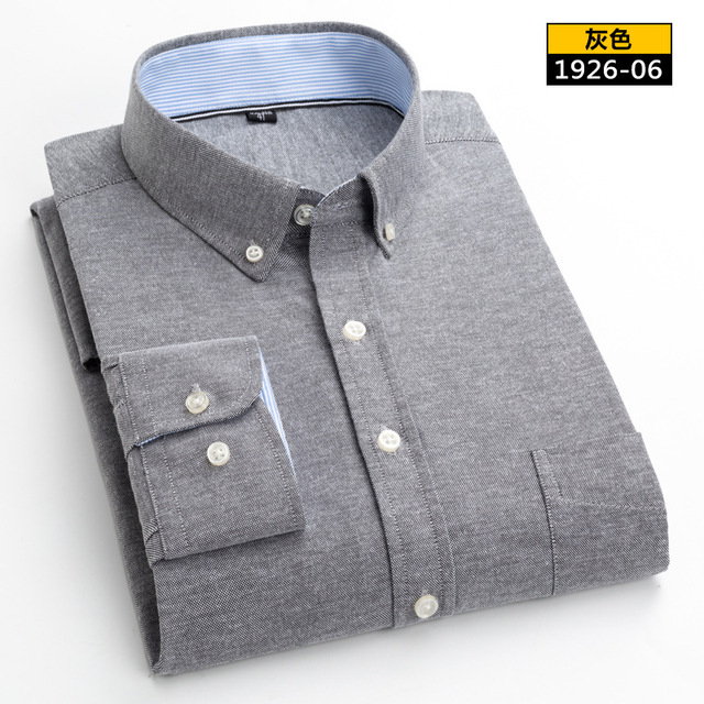 2019 New Men Striped Plaid Shirts Casual Long Sleeve Mens Oxford Shirt Slim Fit Business Male Social Dress Shirts with Pocket