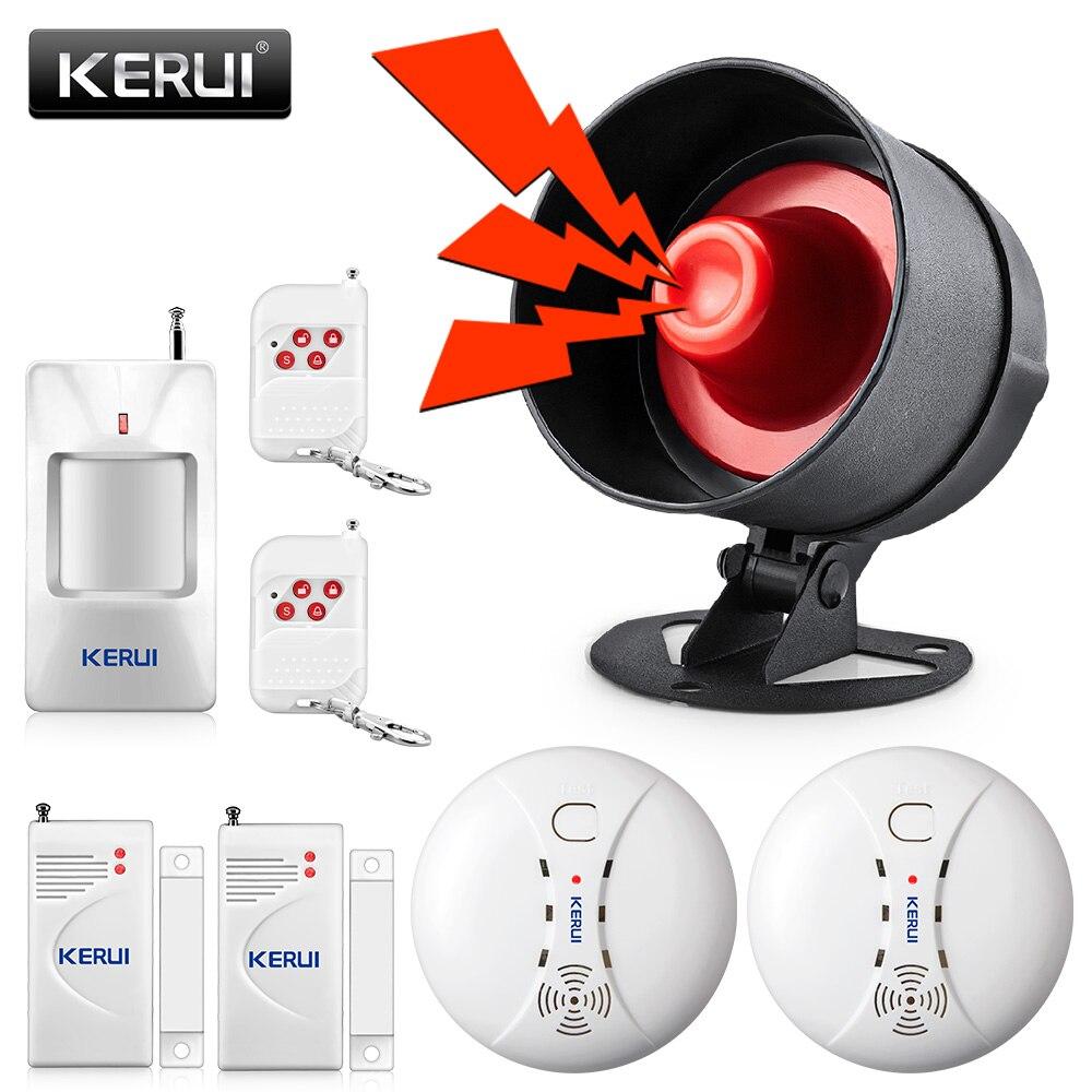 KERUI Drahtlose Billige Einbrecher Home Security Alarm System 100dB Sirene Lautsprecher Fernbedienung Bewegung Fenster Tür Feuer Rauchmelder DIYKit