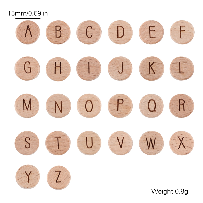 Bopoobo 20pc Wooden English Alphabet Beads Food Grade Material Letter Beads For DIY Baby Teething Rattle Baby Teething Beads