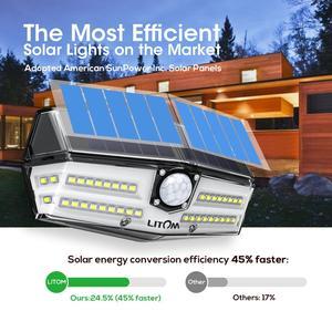 Image 2 - 4 шт. 40 светодиодных солнечных ламп LITOM CD182 Открытый датчик движения Высокоэффективная солнечная панель лампа IP66 Luz Солнечная LED Para внешний вид