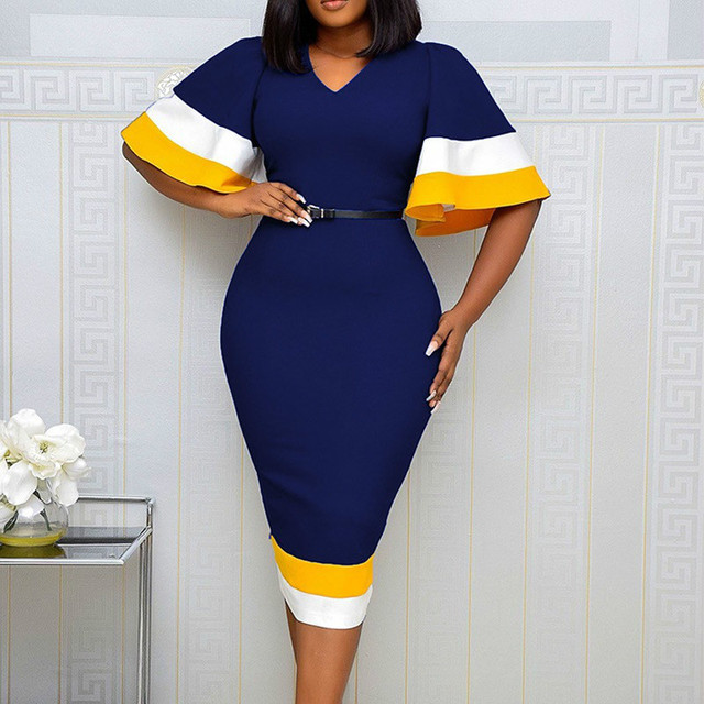 Women Bodycon Dress Patchwork Color Flare Short Sleeves V Neck Elegant Office Ladies Work Wear Female Modest Classy African Lady 1