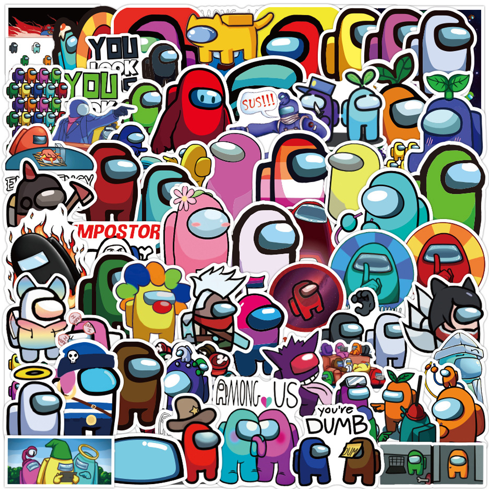 100 PCS Among Us Hot Game Stickers Pack Cartoon Waterproof Kids Sticker Toys as Gifts for Teens Kids Popular Game Stickers for Skateboard Fridge Guitar Laptop Motorcycle Luggage