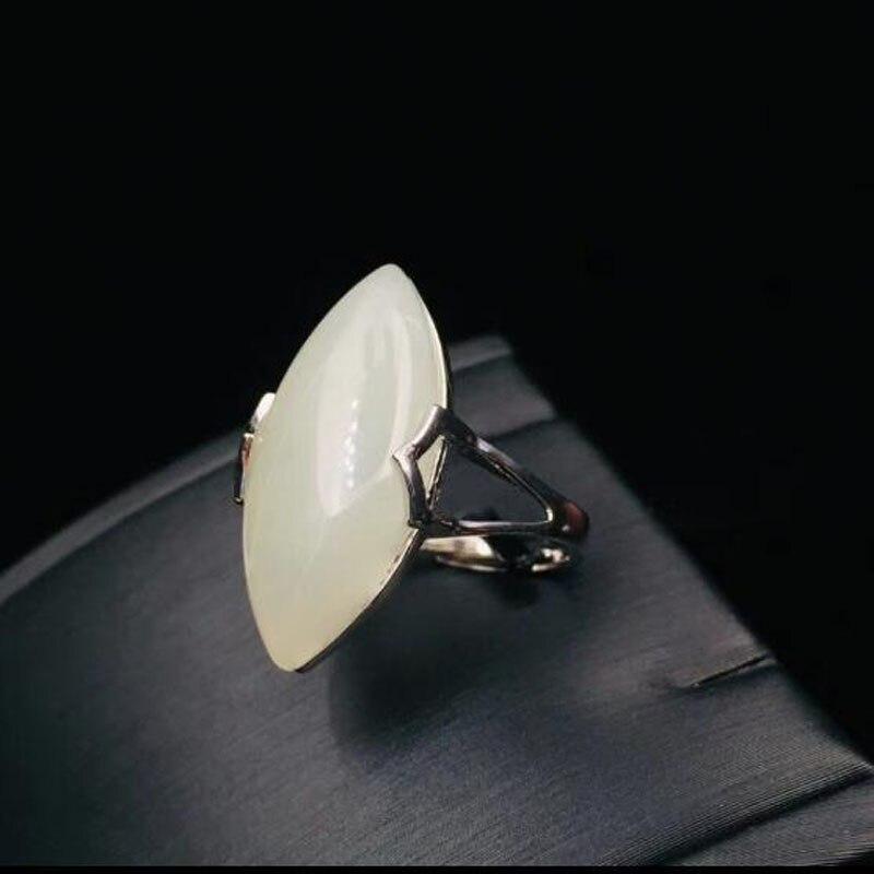 Jade blanc Hetian naturel sculpter la bague ovale 925 argent pour femme grand Jade pierres précieuses anneaux bijoux fins